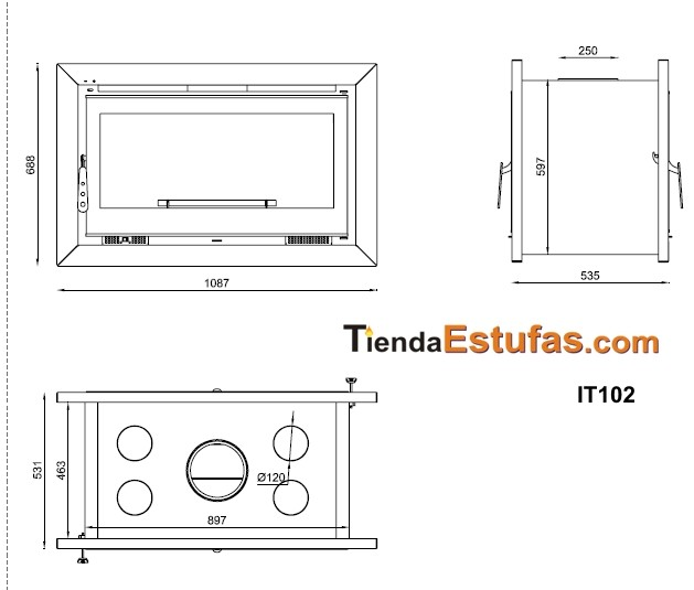INSERTABLE IT102 DE LEÑA 100CM, 2 CARAS, 4 TURBINAS AXIALES