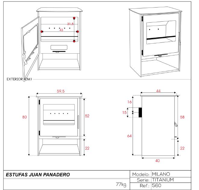 ESTUFA Serie Titanium Mod. Milano  ref. 560 Eco-Design
